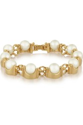 Lele Sadoughi Groove Gold Plated Faux Pearl Bracelet White