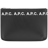 A.P.C. Logo Zip Document Holder Black