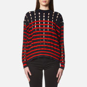 Alexander Wang T By Women's Stripe Cotton Crew Neck Pullover With Slits Navy Lipstick Multi