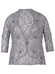 Chesca Cornelli Trimmed Lace Jacket Grey