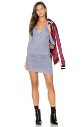Lanston Ruched Henley Dress Gray