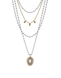 Lucky Brand Pave Peacock Semi Precious Rock Crystal Two Tone Teardrop Pendant Layered Statement Necklace Mixed Metal