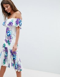 Jessica Wright Bardot Floral Dress With Frill Hem White