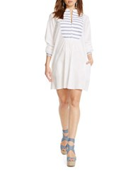 Polo Ralph Lauren Striped Bib Shirtdress White