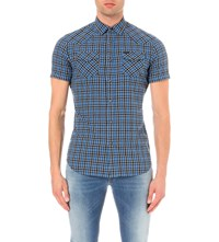 Diesel S Zule Short Plaid Cotton Blend Shirt Blue