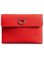 Burberry D Ring Leather Pouch With Zip Coin Case Red
