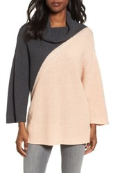 Chaus Women's Colorblock Cowl Neck Sweater Blush