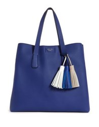 Guess Trudy Tassel Pebbled Tote Blue