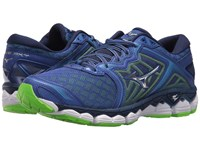 Mizuno Wave Sky Surf The Web Silver Green Gecko Running Shoes Blue