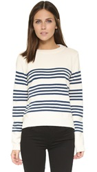 Chinti And Parker Stripe Cropped Sweater Cream Warm Petrol