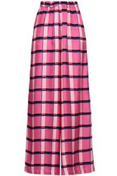 Paper London Checked Silk Twill Wide Leg Pants Pink