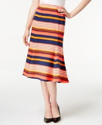 Ny Collection A Line Midi Skirt Coral Combo
