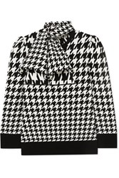 Alexander Mcqueen Bow Detailed Houndstooth Wool Blend Sweater Ivory