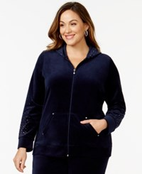 Styleandco. Style And Co. Sport Plus Size Studded Sleeve Active Jacket Only At Macy's Industrial Blue