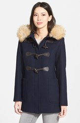 Women's Pendleton 'Berkley' Wool Blend Twill Duffle Coat With Genuine Coyote Fur Trim Navy