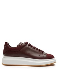 Alexander Mcqueen Raised Sole Low Top Leather And Suede Trainers Burgundy