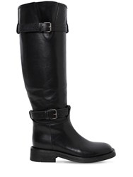 Ann Demeulemeester 20Mm Buckled Leather Knee High Boots Black