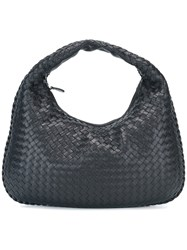Bottega Veneta Small Woven Leather Hobo Bag Black