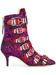 Gucci Jacquard Buckled Ankle Boots Pink Purple