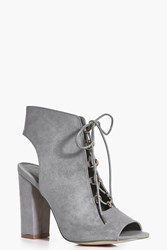 Boohoo Lace Up Peeptoe Block Heel Shoe Boot Grey