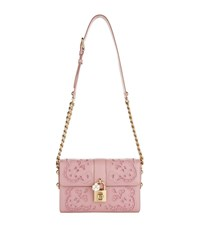 Dolce And Gabbana Lace Padlock Nappa Leather Shoulder Bag Female Pink