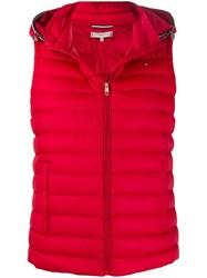 Tommy Hilfiger Hooded Puffer Gilet Red