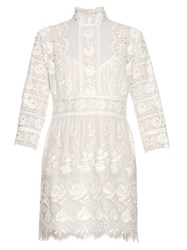 Marc Jacobs High Neck Embroidered Silk Broderie Anglaise Dress