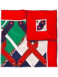 Gucci Argyle Chain Print Scarf Red