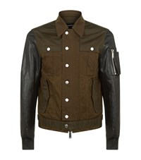 Dsquared2 Leather Sleeved Cargo Jacket Male Brown