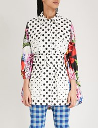 Mary Katrantzou Floral Print And Polka Dot Shell And Stretch Cotton Coat Paint By Numbers Pink