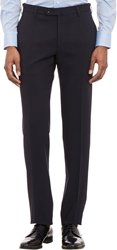 Incotex Worsted Wool Slim Trousers Navy