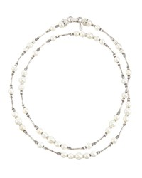 Jose And Maria Barrera Silvertone Long Pearl And Crystal Beaded Necklace