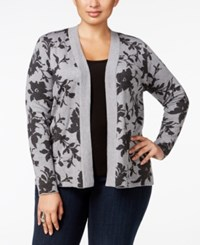 Belldini Plus Size Jacquard Knit Floral Cardigan Heather Grey Charcoal