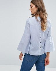 Vero Moda Fluted Sleeve Stripe Blouse Blue