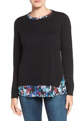 Nydj Women's Layered Look Sweater Bountiful Gardens Blue Velvet