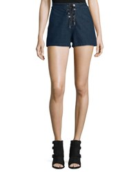 Rag And Bone High Rise Lace Up Denim Shorts Resin