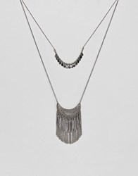 Pieces Layered Festival Necklace Silver