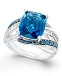 Macy's Blue Topaz 6 1 3 Ct. T.W. And Diamond 5 8 Ct. T.W. Statement Ring In 14K White Gold