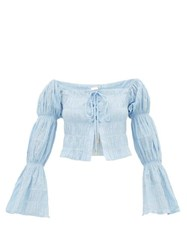 Cult Gaia Claire Gathered Panel Top Blue