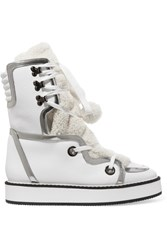 Nicholas Kirkwood Kira Shearling Trimmed Textured Leather Boots White