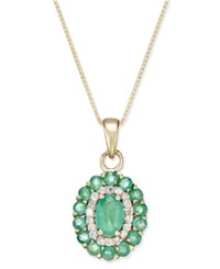 Macy's Emerald 1 5 8 Ct. T.W. And Diamond 1 6 Ct. T.W. Oval Floral Pendant Necklace In 14K Gold Green