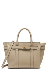 Mulberry Small Bayswater Zipped Leather Satchel Grey Dune