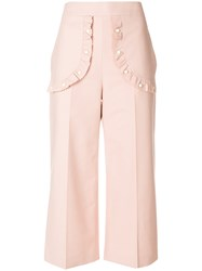 Red Valentino Studded Patch Cropped Trousers Pink And Purple