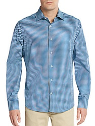 Saks Fifth Avenue Regular Fit Yarn Dye Check Sportshirt Teal