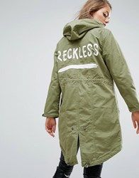 Asos Parka With Reckless Print Khaki Green