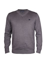 Raging Bull V Neck Cotton Cashmere Sweater Grey