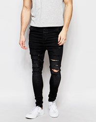 Sik Silk Siksilk Drop Crotch Skinny Jeans With Distressing Black