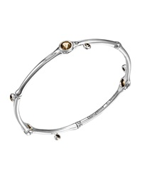 John Hardy Batu Bamboo Sterling Silver Bangle W Smoky Quartz