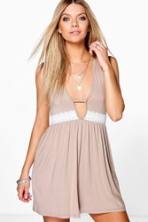Boohoo Lace Trim Cut Out Strappy Dress Taupe