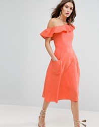 Asos One Shoulder Ruffle Front Sundress Coral Pink